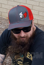 Coughing Cardinal - Coughing Cardinal Winter Grey With Original Red Trucker Hat