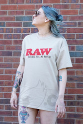 RAW - Tan Mens Promo T-Shirt Front