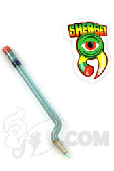 Sherbet Glass - Bent Transparent Blue Glass Pencil Dabber