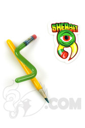 Sherbet Glass - Double Green/Yellow Glass Pencil Dabber Top