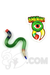 Sherbet Glass - Wavy Green Stardust Glass Pencil Dabber
