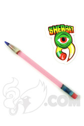 Sherbet Glass - Glass Pencil Dabber Transparent Pink with Blue Tip