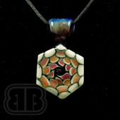 BC Glassworx - Pink, Orange, and White Dot Stack Pendant
