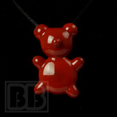 Crumb Glass - Red Crumby Bear Pendant