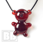 Crumb Glass - Transparent Red Crumby Bear Pendant