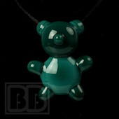 Crumb Glass - Teal Crumby Bear Pendant