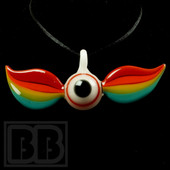 Down Neck - Glass Rainbow Wing Pendant