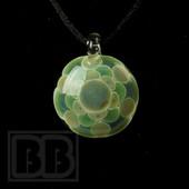 Libby Glass - Green & Blue Flower Dotstack Pendant