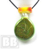 Fish Bowl Glass - Green Slyme Stack Swirls with Opal