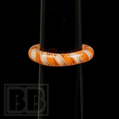 Marni Schnapper x Harold Cooney - Transparent White and Orange Twist Colored Glass Ring Collab (Size 5)