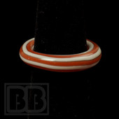 Marni Schnapper x Harold Cooney - Light Red & White Horizontal Stripes Colored Glass Ring Collab (Size 6)