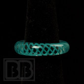 Marni Schnapper x Harold Cooney - Transparent Teal Colored Glass Ring Collab (Size 8.5)