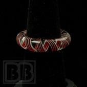 Marni Schnapper x Harold Cooney - Transparent Red and White Swirl Colored Glass Ring Collab (Size 8)