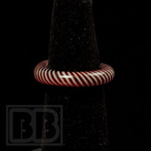 Marni Schnapper x Harold Cooney - Red & White Stripes Colored Glass Ring Collab (Size 7)