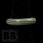 Marni Schnapper x Harold Cooney - Warm Grey & White Horizontal Stripes Colored Glass Ring Collab (Size 7)