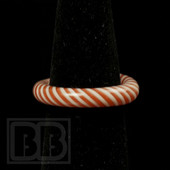 Marni Schnapper x Harold Cooney -  Light Red & White Stripes Colored Glass Ring Collab (Size 7)