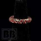 Marni Schnapper x Harold Cooney - Transparent Red and White Swirl Colored Glass Ring Collab (Size 6.5)