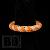 Marni Schnapper x Harold Cooney - Transparent White and Orange Twist Colored Glass Ring Collab (Size 6.5)