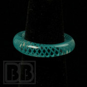 Marni Schnapper x Harold Cooney - Transparent Teal Colored Glass Ring Collab (Size 6.5)