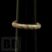 Marni Schnapper x Harold Cooney - Rainbow/Red and White Stripe Two-Tone Colored Glass Ring Collab (Size 6.5)
