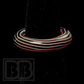 Marni Schnapper x Harold Cooney - Red & White Horizontal Stripes Colored Glass Ring Collab (Size 7)