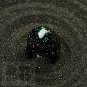 Cajun Glass Designs - Crushed Opal Ring with Cat's Eye Opal (Size 8)
