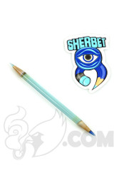 Sherbet Glass - Double Ended Transparent Blue Glass Pencil Dabber