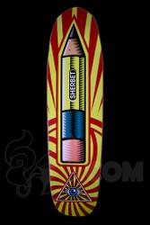 Sherbet - Pencil Logo Skateboard Shovel Nose Deck - Size 8.5 Front