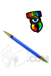 Sherbet Glass - Double Ended Transparent Deep Blue Glass Pencil Dabber