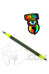 Sherbet Glass - Double Ended Grey and Lemon Drop Glass Pencil Dabber