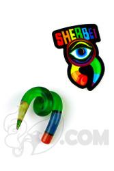 Sherbet Glass - Swirl Green Glass Pencil Dabber