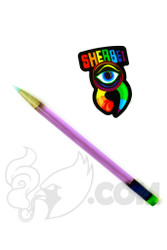 Sherbet Glass - Glass Pencil Dabber Purple Lollipop with Teal Tip