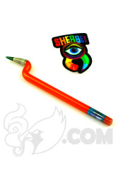 Sherbet Glass - Bent Orange Signed Glass Pencil Dabber