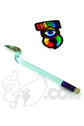 Sherbet Glass - Bent Transparent Blue Glass Pencil Dabber with Green Tip