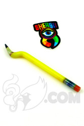 Sherbet Glass - Bent Yellow Glass Pencil Dabber with Green Sparkle Tip