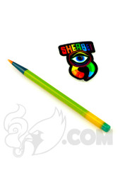 Sherbet Glass - Glass Pencil Dabber Chartreuse with Multi-color Accents