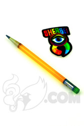 Sherbet Glass - Glass Pencil Dabber Orange Shade Citrus with Green Eraser