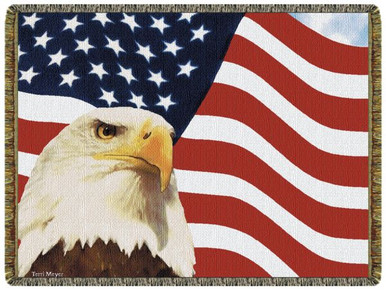 God Bless America Tapestry Throw L10151