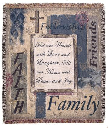 Fill Our Hearts Family Friends Faith Tapestry Throw