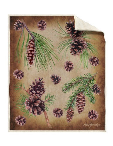 Sherpa Pine Cones Silk Touch Throw Blanket Blankets Com