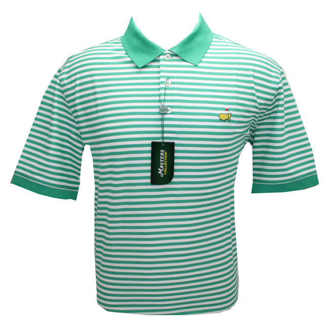 Masters Polo Golf Shirt - Holly & White Stripes- 100% Pima Cotton