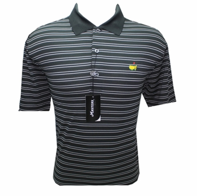 Masters Tech Golf Shirt- Black with White Stripes