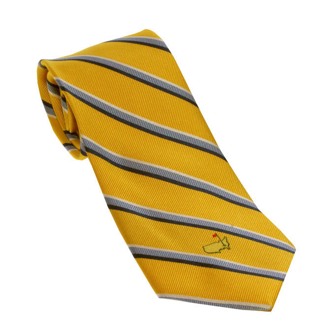 Masters Gold Tie With Navy and White Striped