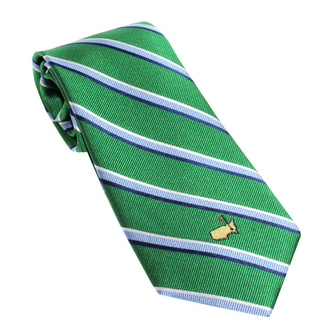 Masters Green Tie With Navy and White Stripes