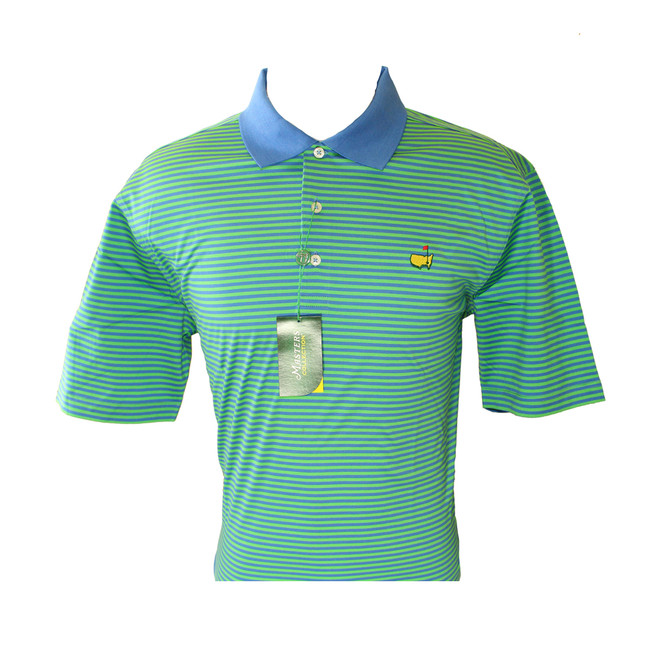 Masters Blue Collar & Green Striped Jersey Golf Shirt