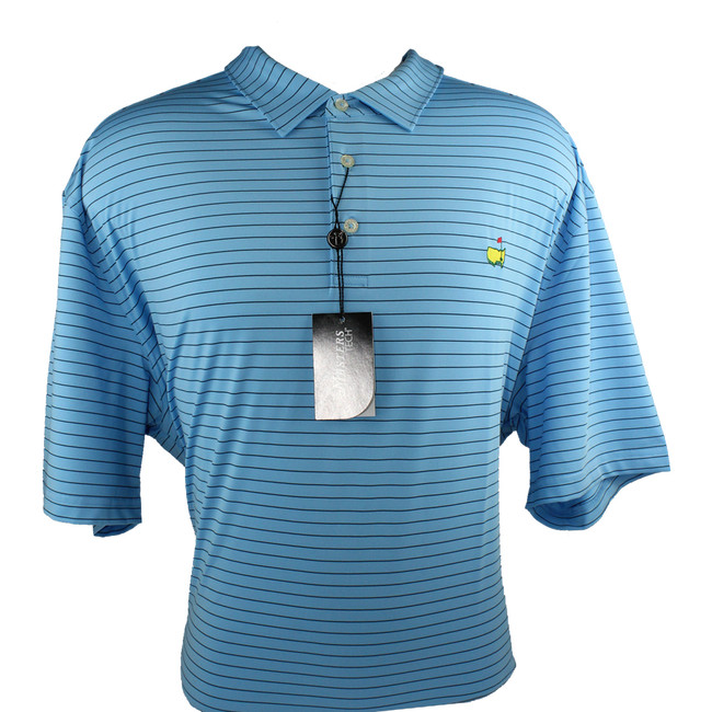 Masters Light Blue & Black Striped Performance Tech Golf Shirt