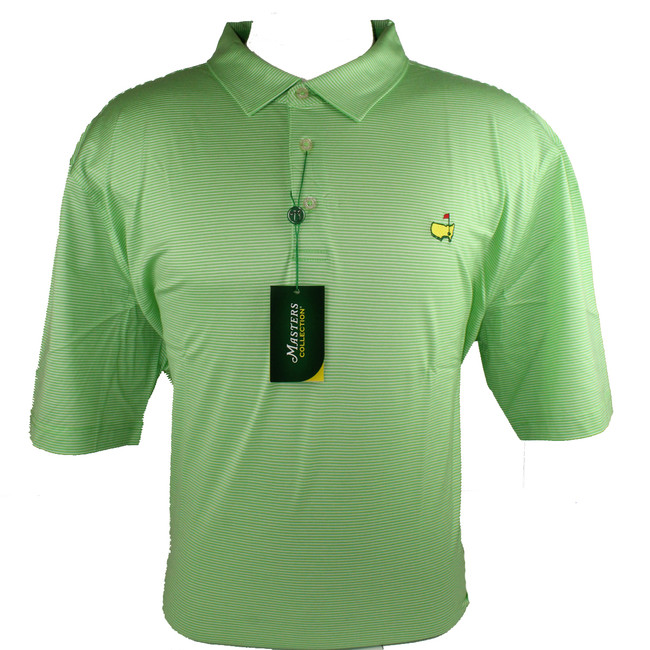 Masters Jersey Summer Green & White Striped Golf Shirt