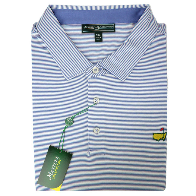 Masters Jersey Royal Blue & White Striped Golf Shirt
