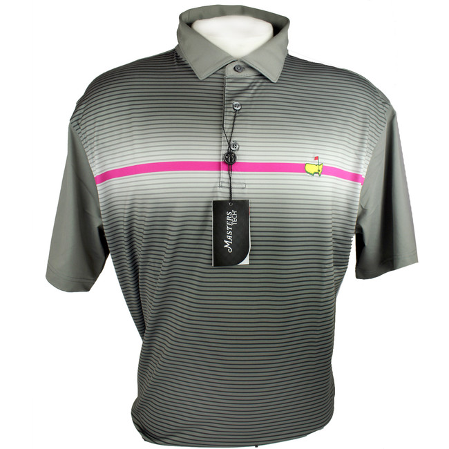 Masters Performance Tech Golf Shirt - Grey & Pink Stripe