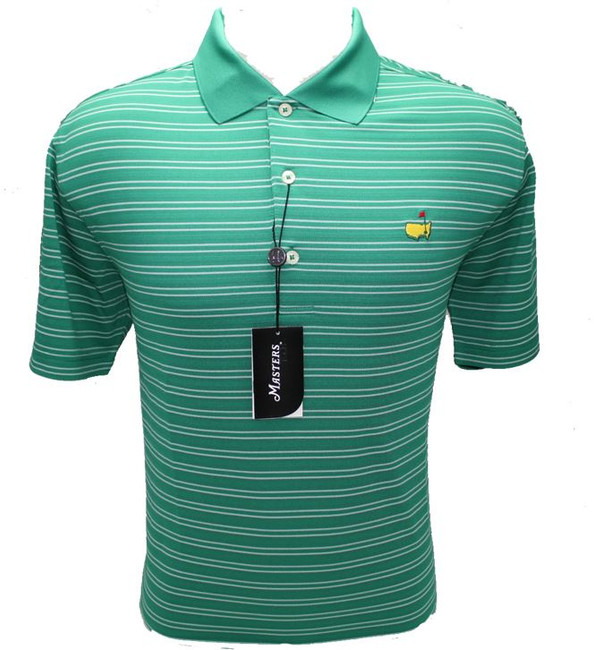 Masters Fairway Green & White Striped Performance Tech Golf Shirt (XXL Only)